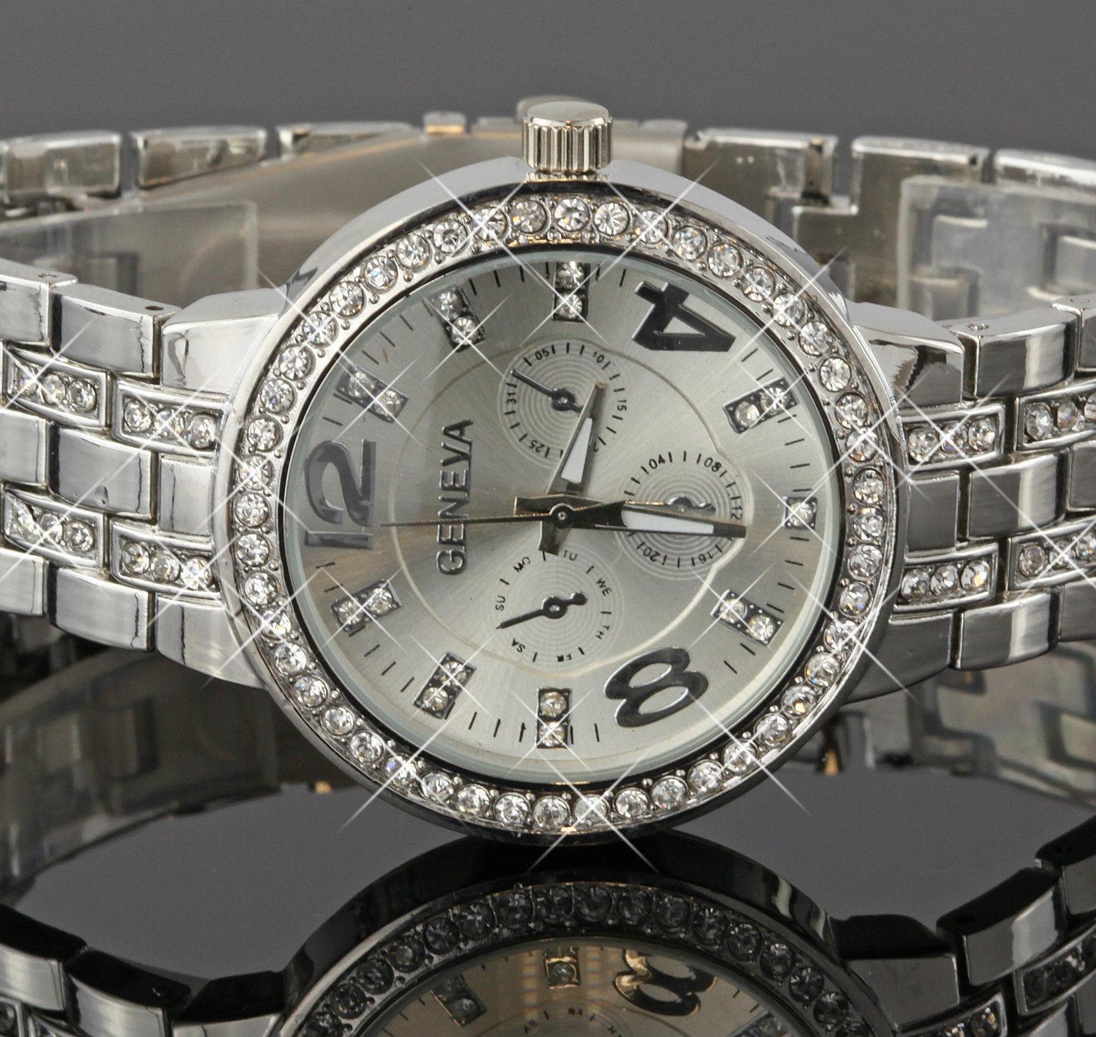 Dámske hodinky Geneva s krištáľmi strieborné empty 003038de795