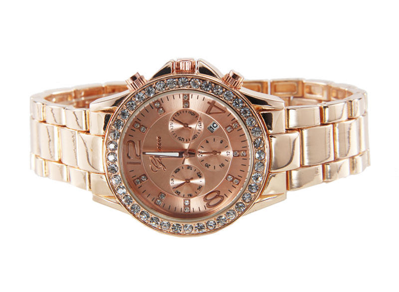 Dámske hodinky Geneva s krištáľmi - ružové zlato  c0da6b97af4